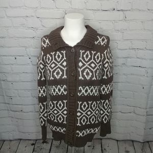 Mossimo brown/white cable knit cardigan Sz L